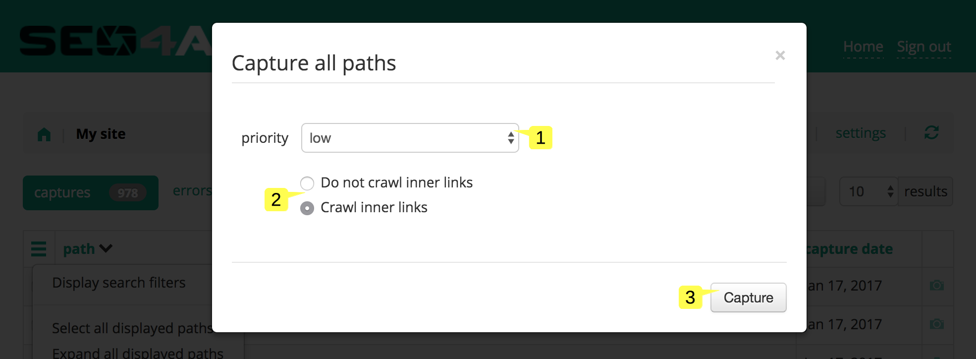 screenshot of the Capture all paths popup in the Site status page