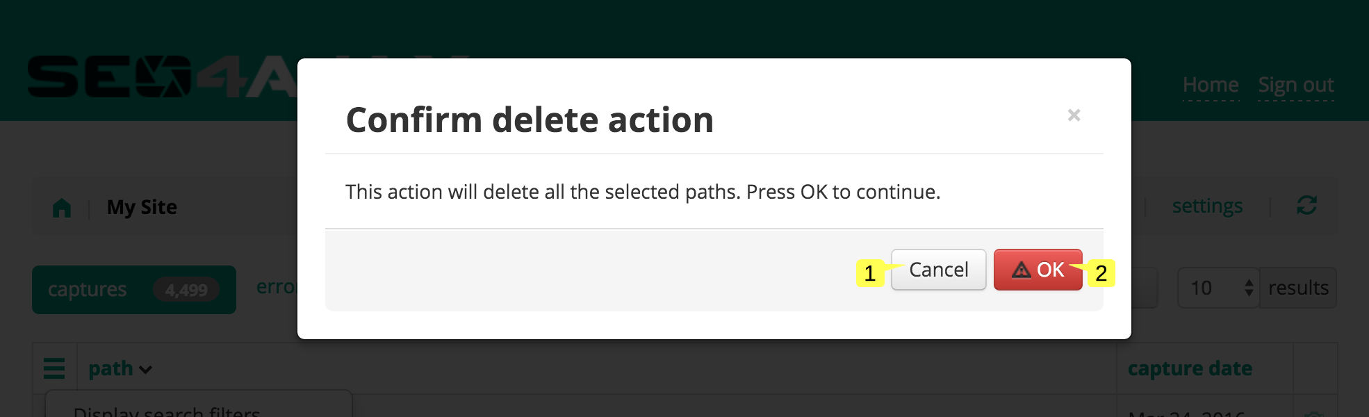 screenshot of the Delete paths popup in the Site status page