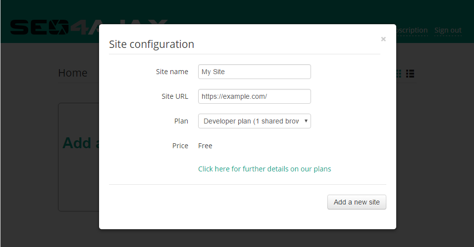 screenshot of the New site configuration popup